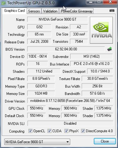 NVIDIA GeForce9800GT