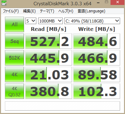 TOSHIBA 128GB SSD ベンチマーク