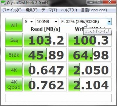 DAWPCベンチマーク 日立HDD1TB