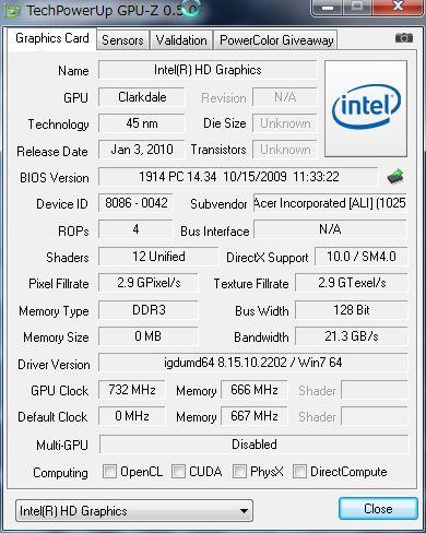 INTEL HD Graphics(i530)