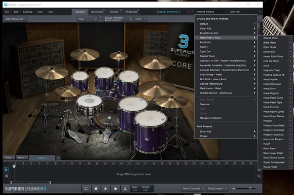 Superior Drummer 3 プリセット